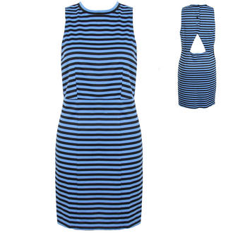 View Item Blue Striped High Neck Dress with Cut Out Back